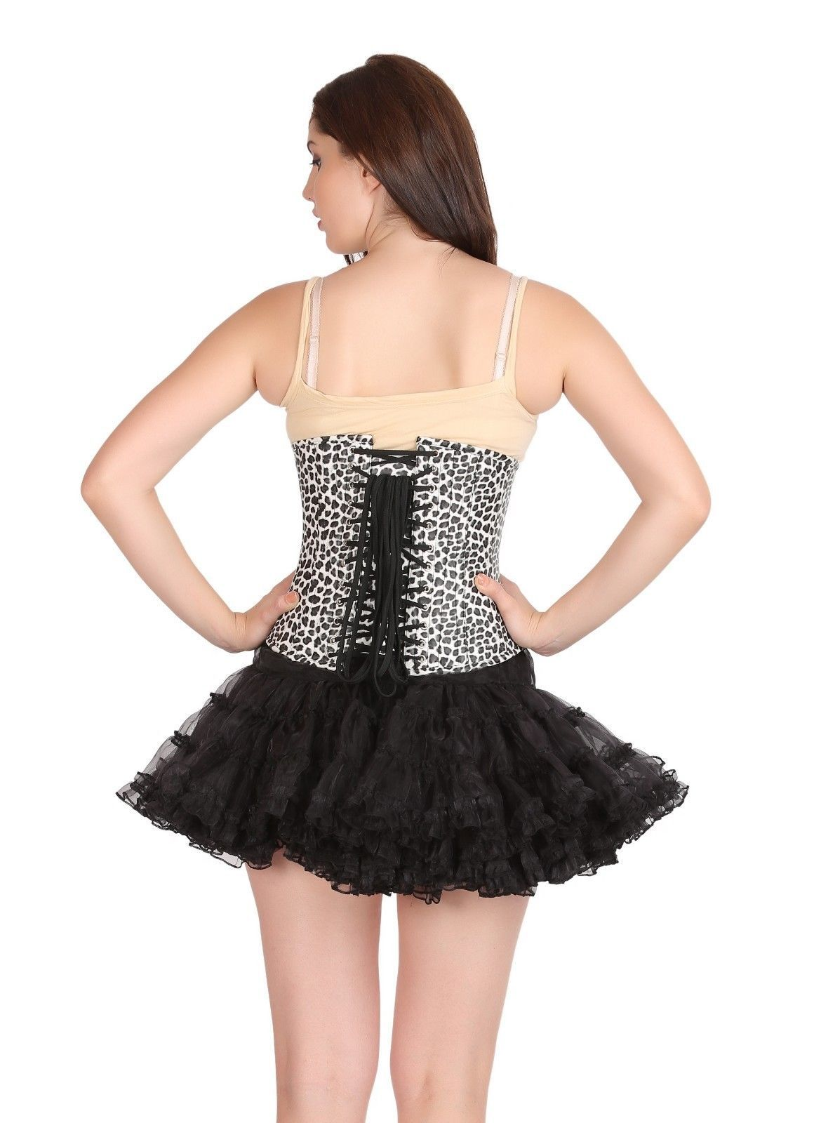 Black & White Faux Leather Animal Gothic Steampunk Bustier Underbust Corset Top