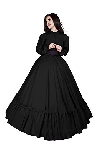 Civil War Reenactment Victorian Garibaldi 3 Piece Dress (S/M, Black)