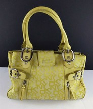 Vintage DKNY Logo Canvas Leather Handbag Purse Yellow - $39.59