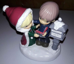 Christmas Precious Moment Figurine Boy & Girl in Santa Cloak by Lamppost... - $5.64