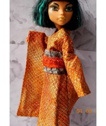 Doll Furisode Kimono, Doll Orange Black Scale Print Kimono, Japanese Kim... - $25.00