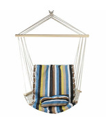 "Northlight 21"" x 37"" Blue Brown Yellow Striped Hammock Chair Pillow and ... - $58.15"