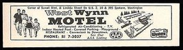 West Wynn Motel Ad Spokane Washington AC Heated Pool TV 1964 Roadside Ad... - $10.99