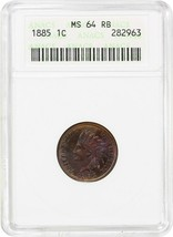 1885 1c ANACS MS64 RB - Pretty Toning - Indian Cent - Pretty Toning - $266.75