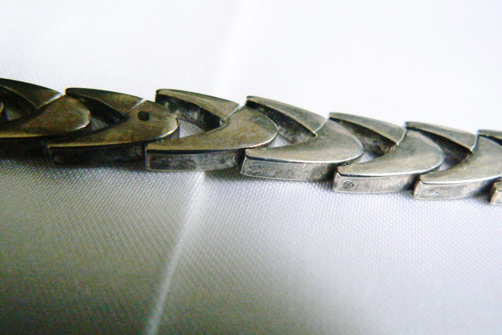 """Vintage Sterling Silver 925 Shevron link  Bracelet 8""""L image 4"""