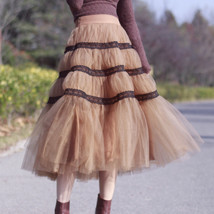High Waisted Tiered Tulle Skirt Outfit Khaki Puffy Tiered Skirt Holiday Outfit  image 1