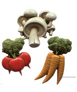 3 Vintage Homco Kitchen Vegetable Wall Hanging Plaque Radish Mushroom Ca... - $19.99