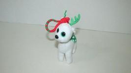 Ty Beanie Babies Peppermint white green reindeer mini key clip keychain   - $3.95