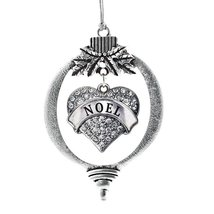 Inspired Silver Noel Pave Heart Holiday Christmas Tree Ornament With Crystal Rhi - $14.69