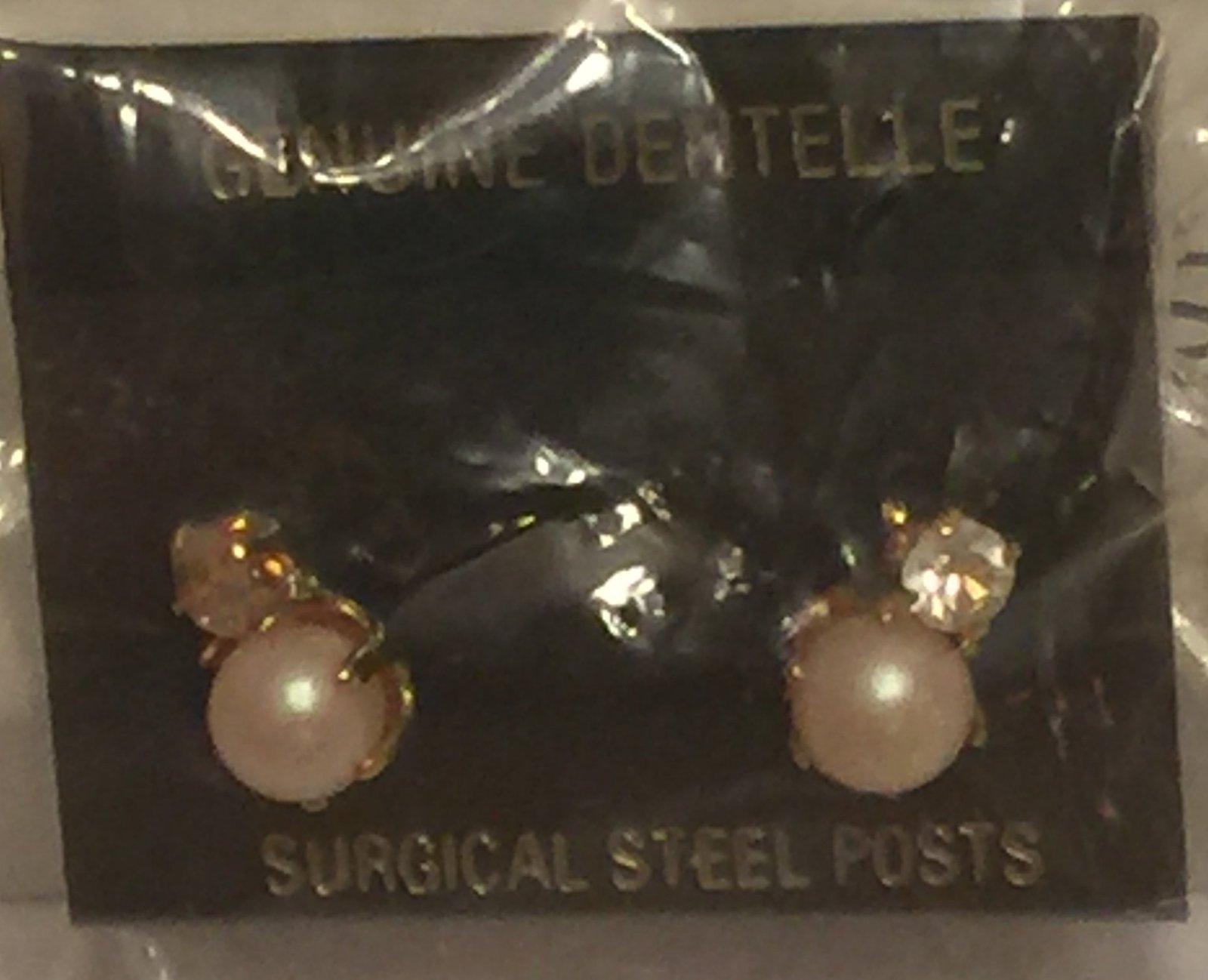 VTG 80s Earrings~Genuine Dentelle West German Crystal Rhinestone/Faux Pearl Stud image 4