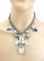 Charmed Christian Winged Guitar on Cross Necklace Earrings Set Punk, Rhinestones - $20.90