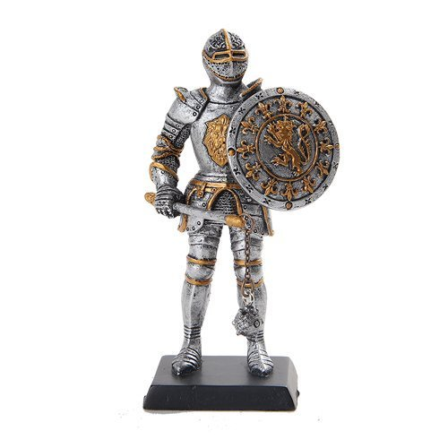 5 Inch Medieval Knight with Sword and Round Shield Statue Figurine - £10.93 GBP