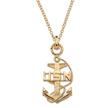 "Navy Pendant Necklace 14k Gold-Plated 20"" - $28.82"