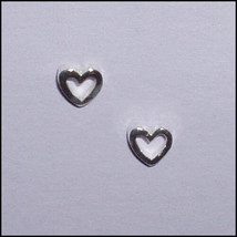 Great Gift Sterling Silver Hollow Heart Earrings-So Petite!-Valentine's Day - $8.81