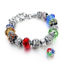 New Crystal Beads Bracelets Bangles Silver Plated Charm Bracelets For Women - $10.24