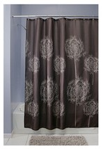 InterDesign Dandelion Fabric Shower Curtain Chocolate  New 72 X 72 - $17.99