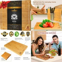 Bamboo Cutting Board for Kitchen (10 x 15 inches) with Handles and Juice... - £16.45 GBP