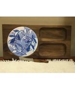 Vintage Mid Century Modern Ernest Sohn Walnut Wood & Ceramic tile Cheese... - $23.76