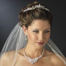 CLOSEOUT Silver Swarovski Crystal Rhinestone Floral Princess Prom Bridal... - $61.70