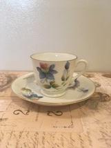 Vintage Colorado Columbine Teacup And Saucer Handpainted Demitasse teacu... - $9.50
