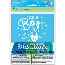 "Blue Clothesline Boy 8 Ct Latex 12""  Balloons Round Baby Shower - $3.13"