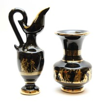 Vintage Pair of Small Vase Hand Made in Greece 24k Gold Cobalt Blue Art ... - $24.26