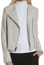 New with Tag - $995 VINCE. Lamb Leather Dove Grey Cross Front Moto Jacket Size M - $299.99