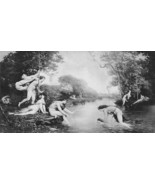 NUDE Mythology Young Bacchus Bathed in River Nymphs !! Victorian Antique... - $12.15