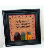 """Collage Framed Embroidery 9 x 9 Inches """"As for me and my house...."""" - $18.81"""