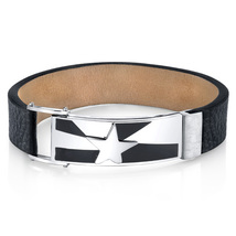 Stainless Steel & Black Leather Shooting Star Bracelet - $59.99