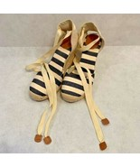 Sonoma Womens Espadrilles Wedge Heels Shoes Ivory Black Striped Canvas L... - $18.80