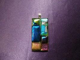 Vintage Artisan AMES Mosaic Art Glass set in Resin Pendant - $29.70