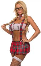Sexy Study Date Red Plaid Naughty School Girl Deluxe Costume image 1