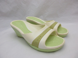 Crocs Boulder Colorado White and Green Wedge Sandals Women's Size 7 - $27.73