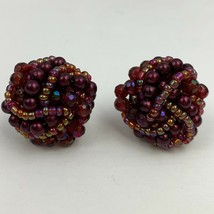 Vintage Burgundy Wine Red Beaded Cluster Pierced Earrings Round - $11.84
