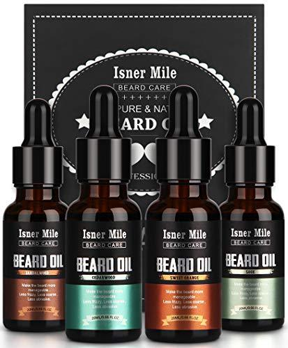 4 Pack Beard Oil Organic Leave in Conditioner Serum Kit - Cedarwood, Sandalwood,