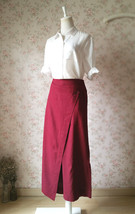 Women Wide Leg Linen Cotton Pants Long Wrap Pants Trousers Casual Pants Burgundy image 2