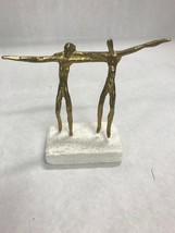 Vintage Brass couple man woman sculpture art stone base signed naked pair - $49.49