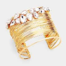 Colorful Crystal Embellished Cuff Bracelet  - $27.00