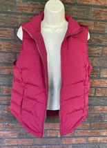 Pink Goose Down Vest Small Zipper Pockets Sleeveless Jacket Puffer Coat EUC - $19.60