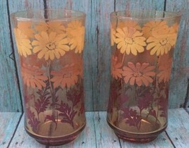 Libbey Amber Flower Glasses Set Of Two Yellow Brown Retro Seventies Style Floral - $9.89