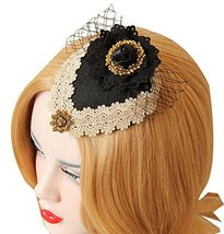 Retro Lace Headwear with Mesh Cosplay Hair Clip Small Top Hat - $20.49