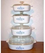 Corning Ware Cornflower 8-pc Set Pyroceram Cookware A10B - $75.00