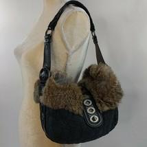 COACH SIGNATURE GO4K-9443 BLACK QUILT RABBIT LEATHER HOBO BAG - $49.49