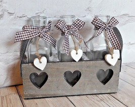 Wooden Heart Tray with Glass Bottles Container Flower Holder Decor Wedding  - $9.89
