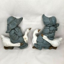 Vintage 1988 Homco Burwood Products Girl and Boy w/ Geese Wall Plaques 2... - $9.89