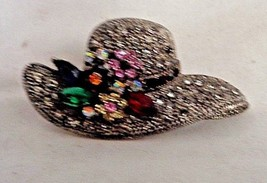 VintageHat Brooch with Rhinestones and Flowers Fashion Jewelery - $18.99