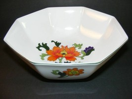 Vintage OLYMPUS Japan Floral Flowers Berry Fruit Bowl Octagon White - $15.00