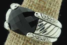 DAVID YURMAN Sterling Silver Black Onyx and Diamond Ring (Size 5 3/4) - $485.00