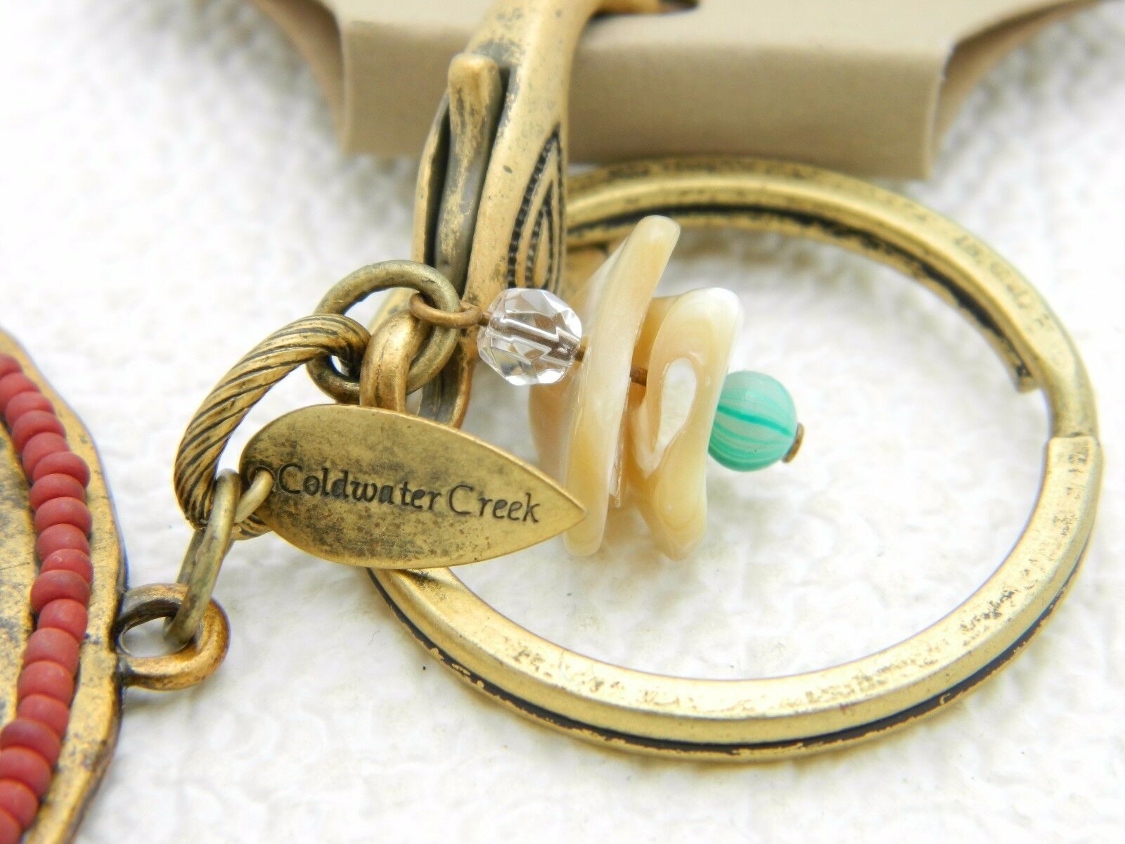 Coldwater Creek Clip On Charm Keychain Purse Sand Dollar Shell